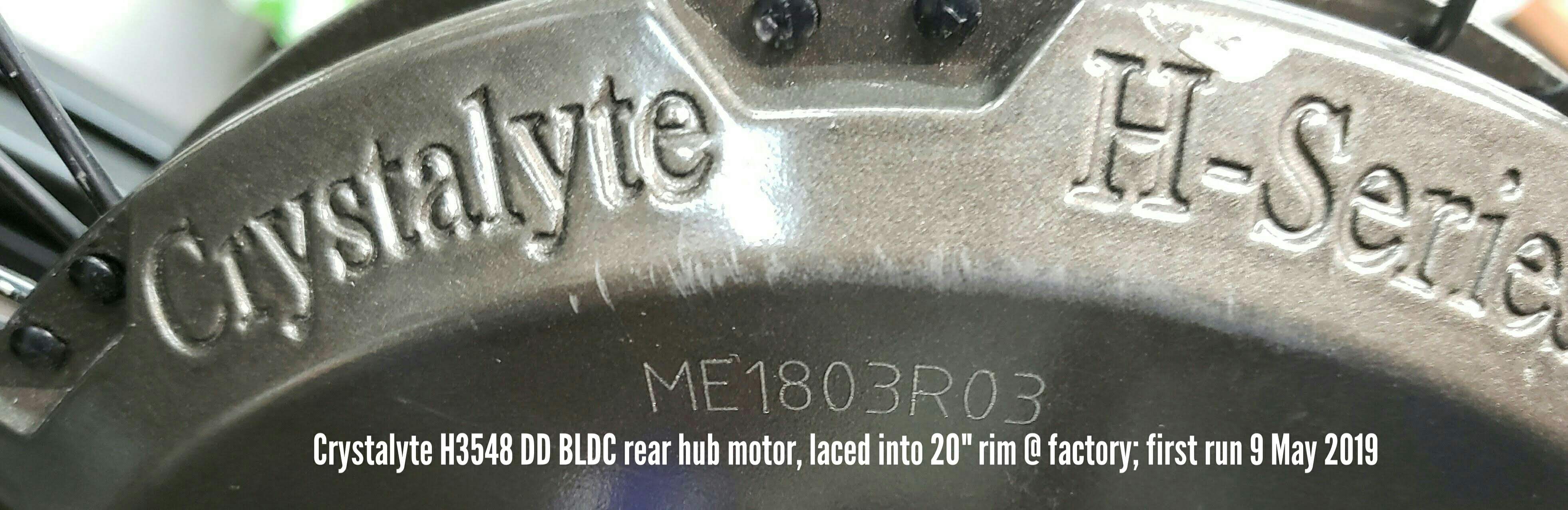 photo of Crystalyte H3548 rear hubmotor's model and serial number